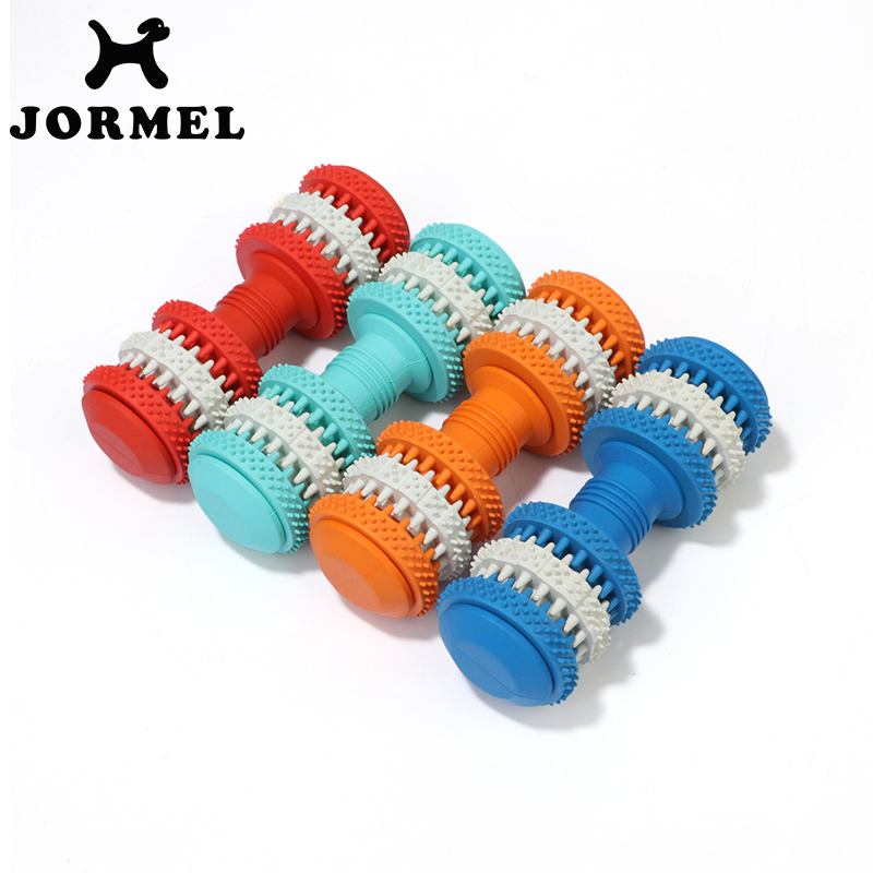 JORMEL Rubber Molar Dog Toys Clean Dumbbell Teething Stick Bite Toys Pet Dog Chew Toys Swivel Leakage Food For Pet Training