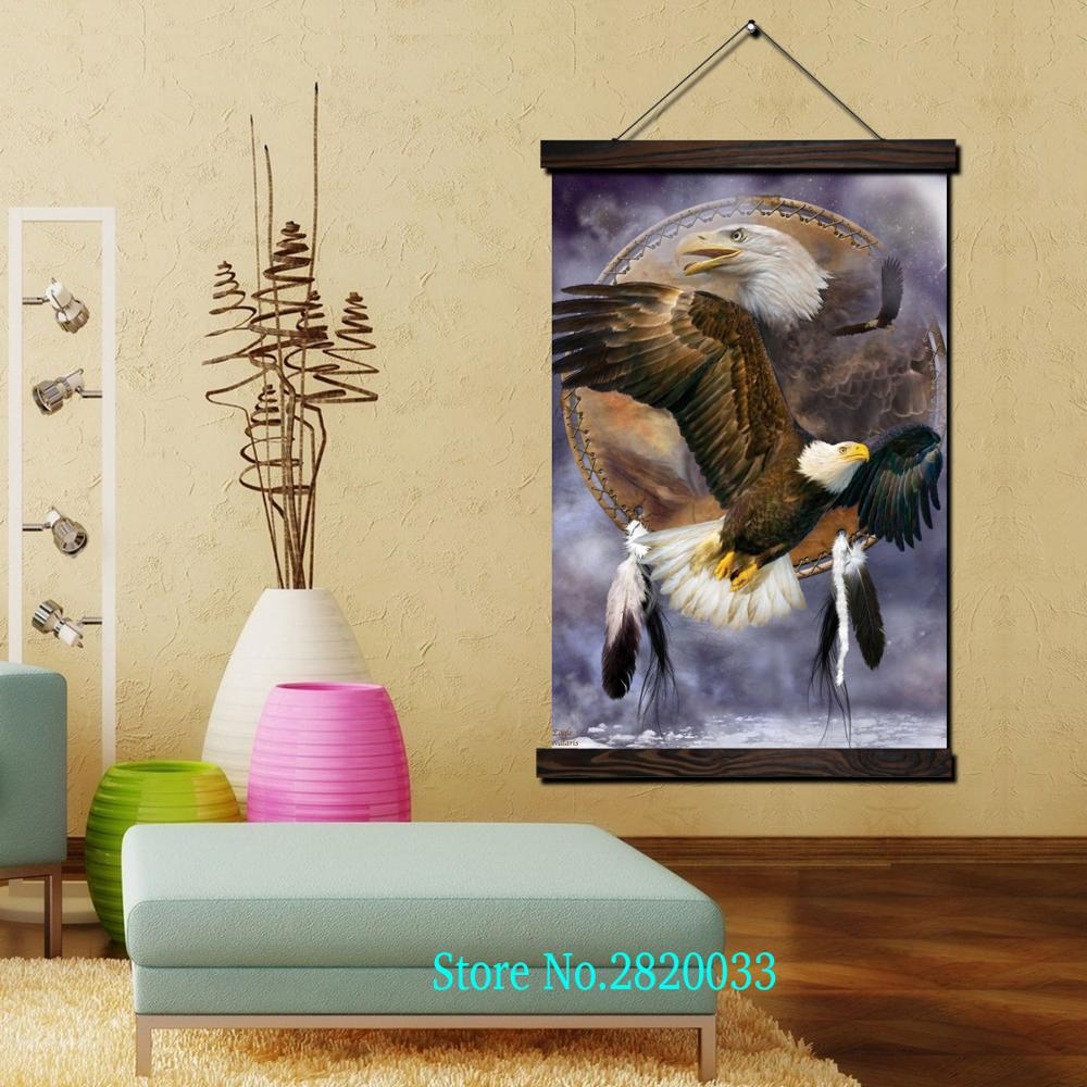 Indian Eagle Fly Free Framed Scroll Painting HD Wall Art Hanging ...