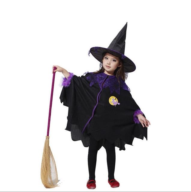 60f9ad6fbf7aa ハロウィン子供の日子供キッズベビー女の子魔女マント+帽子コスプレ衣装パフォーマンス服