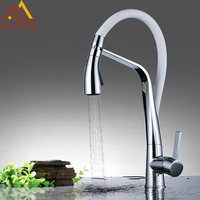 White And Chrome Kitchen Faucet Pull Down With Sprayer Spout Mixer Tap Deck Mounted