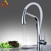 Quyanre Kitchen Faucet Brass Chrome Rubber Kitchen Sink Faucet Pull-out Dual Function Sprayer Single Handle Mixer Tap Faucet