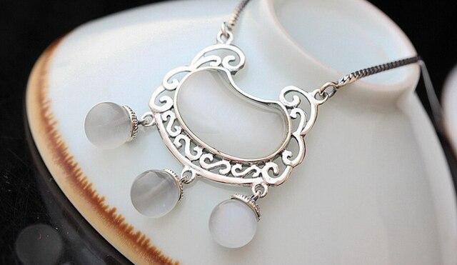 925 branco opala prata Thai feminino colar de colar