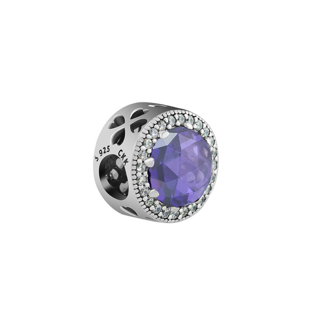 bb13a07ff Fits for Pandora Charms Bracelets Radiant Rose Heart Beads with Amethyst 100%  925 Sterling Silver Jewelry Free Shipping