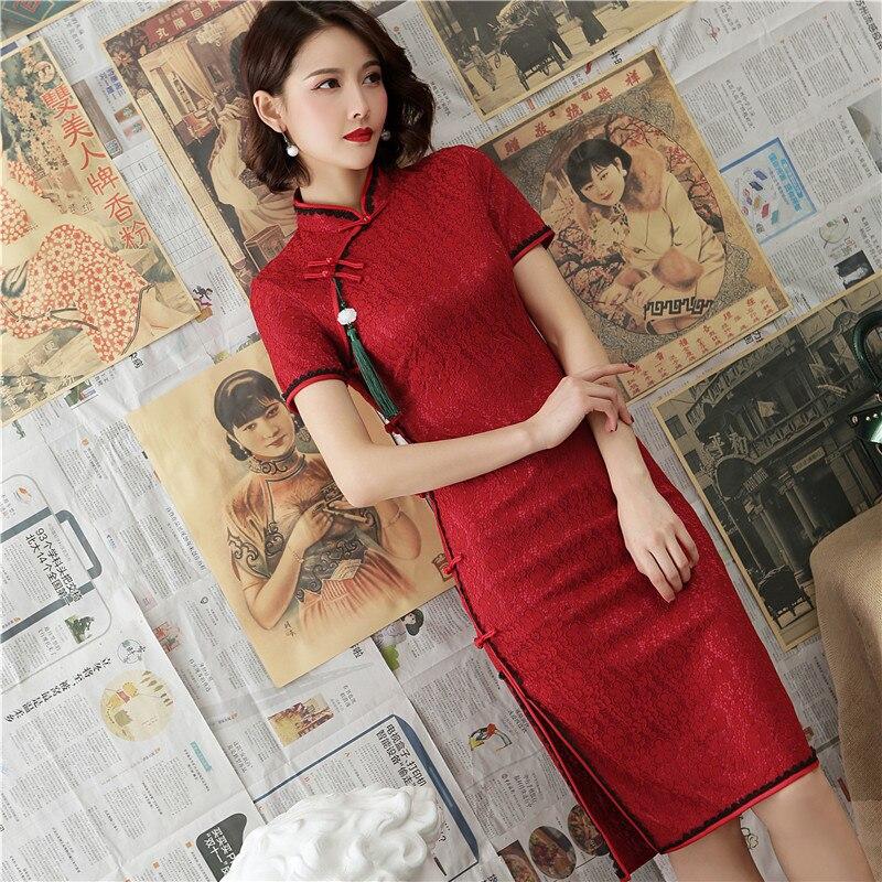 2019 vente offre spéciale en dentelle Composite longue Cheongsam vieux Shanghai vent restauration anciennes façons est huit fille améliorée Qipao robe