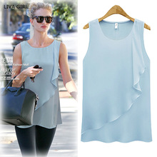 4 Colors Strap Sleeveless Shirt Women 2016 Plus Size Spring Summer New Chiffon Blouses Ruffles O-neck Sexy Loose Women Tops