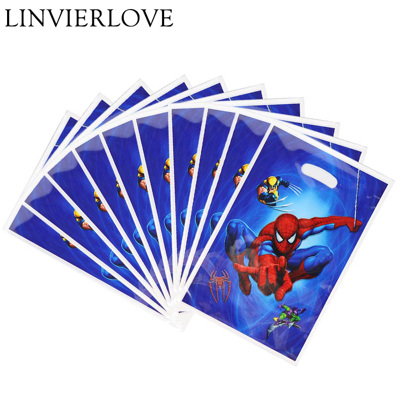 10pcs/pack Spiderman Plastic Loot Bags For Kids Boys Girls Birthday Baby Shower Cartoon Theme Gift Return Bags Party Supplies