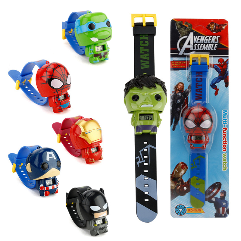 Children Toys Watches For Boys Girls Avengers Super Hero Iron Man Spiderman Captain America Batman Hulk Figure Toys Gifts