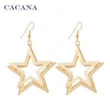 CACANA Dangle Long Earrings For Women Double Five-pointed Star Bijouterie Hot Sale No.A241 A242