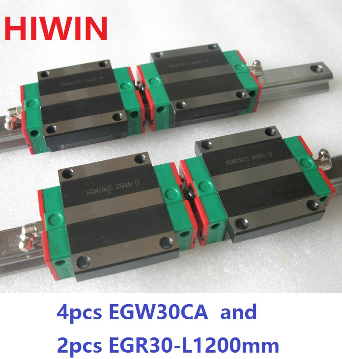 2pcs 100% original HIWIN linear rail guide EGR30 -L 1200mm + 4pcs EGW30CA linear flange block carriage for CNC router 2pcs 100% original hiwin linear guide rail egr30 l 1800mm 4pcs egh30ca linear block cnc router