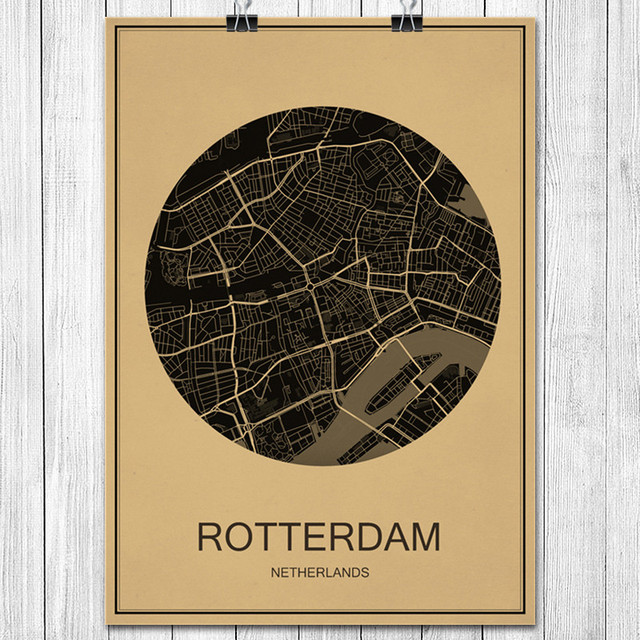 World city map rotterdam vintage poster retro art painting kraft world city map rotterdam vintage poster retro art painting kraft paper wall sticker living room cafe gumiabroncs Gallery