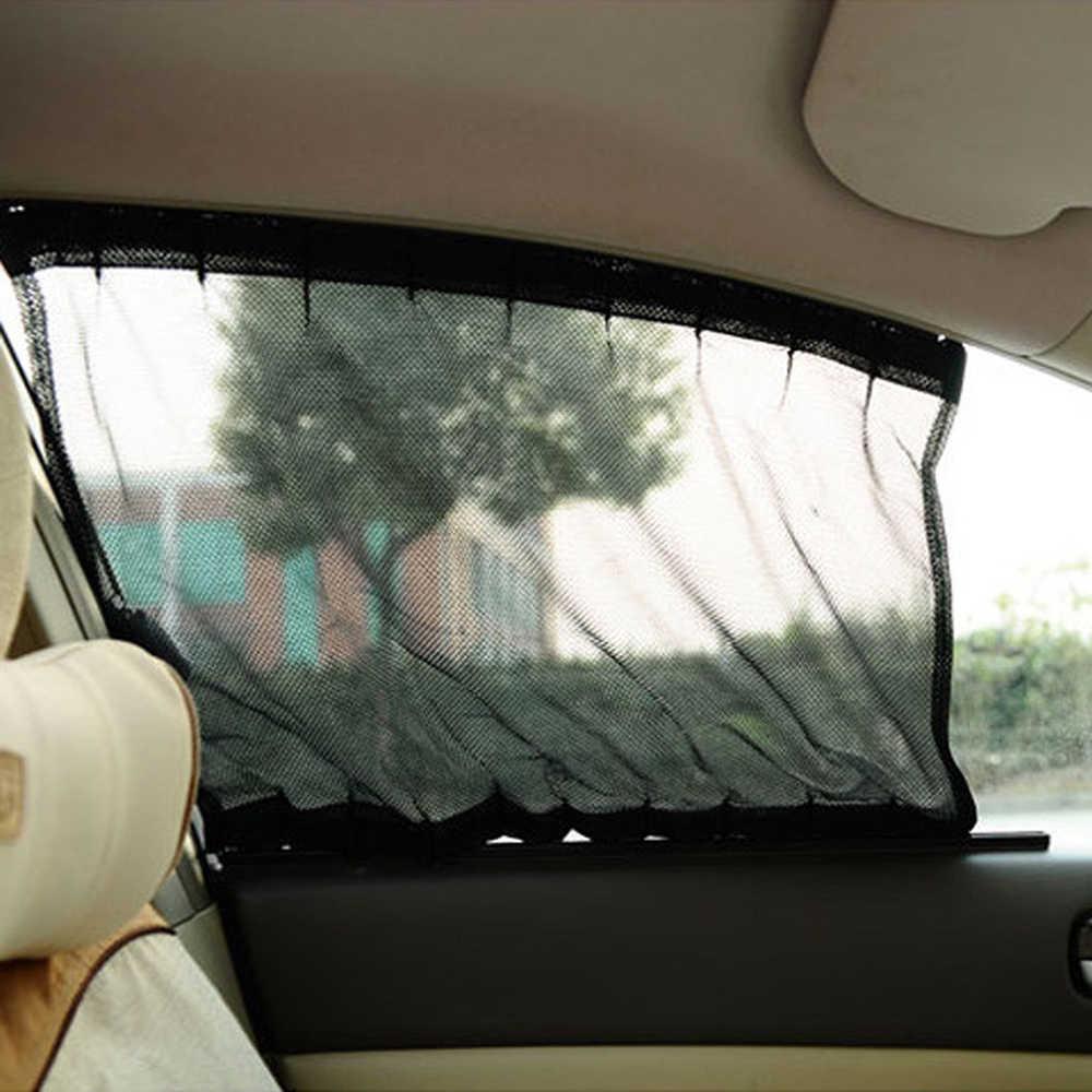 1 ペア車のサイドウィンドウサンシェード車太陽シェードウィンドウサンシェードドレープバイザーバランス風防サンシェードアジャスタブル折りたたみ