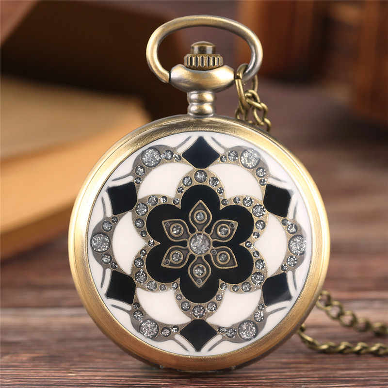 Vintage Bronze Copper White Jade Flower Crystal Big Quartz Pocket Watch Women Necklace Pendant Chain Birthday Gifts Lovely Clock