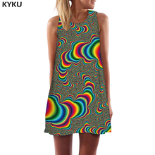 KYKU Psychedelic Dress Women Dizziness Beach Colorful Party Vortex Vestido Sexy Gothic Womens Clothing Elegant