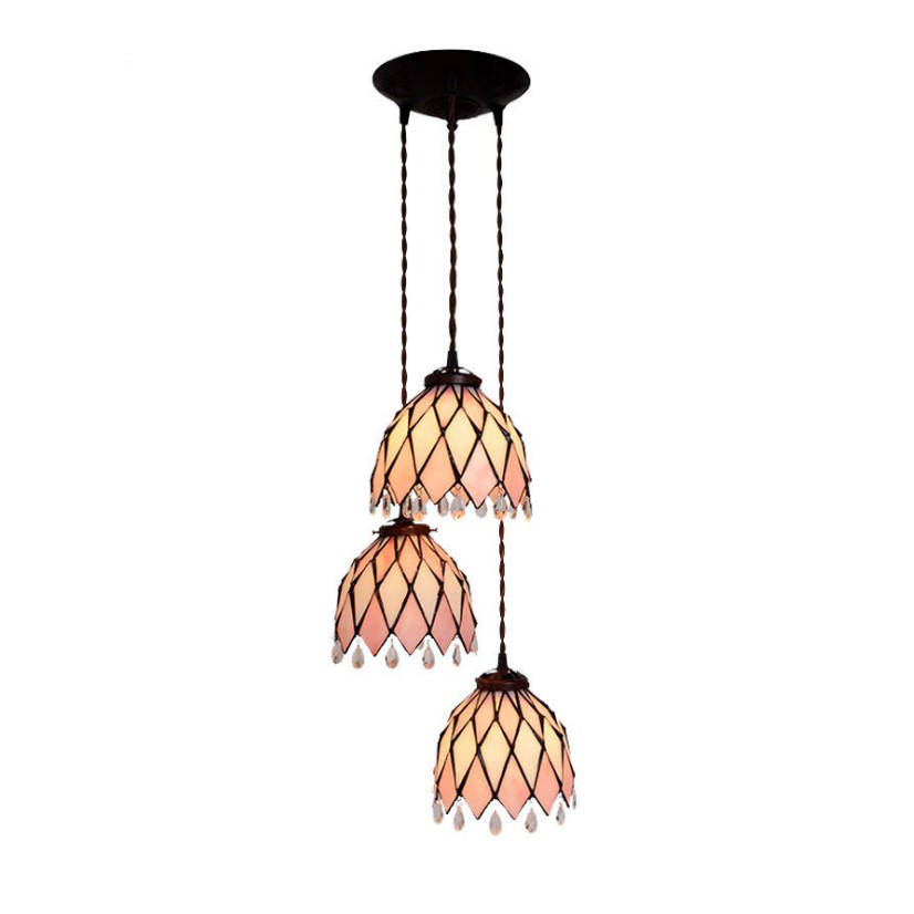 Post Modern Art Deco Crystal Three LED Pink Hang Pendant Lamp Light Long Cord Unique Dining Room Bedroom Stairs Bar Lighting цена