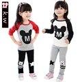 Marca SK 3-7 T Nueva Llegada de Mickey y de Minnie Impresión Otoño Chicas Manga Larga Que Arropan los Niños de La Muchacha deportes Traje Traje