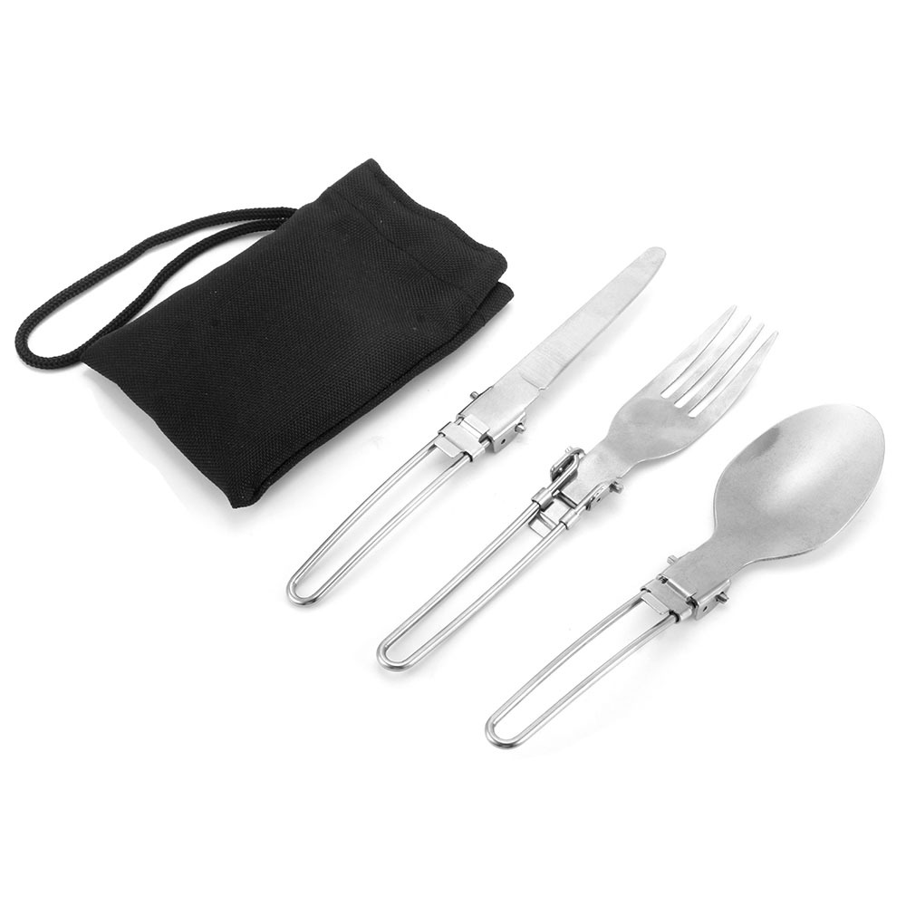 iPobie 3 Pcs Portable Foldable Stainless Steel Spoon,Outdoor Picnic Camping Tableware Traveller Spoon