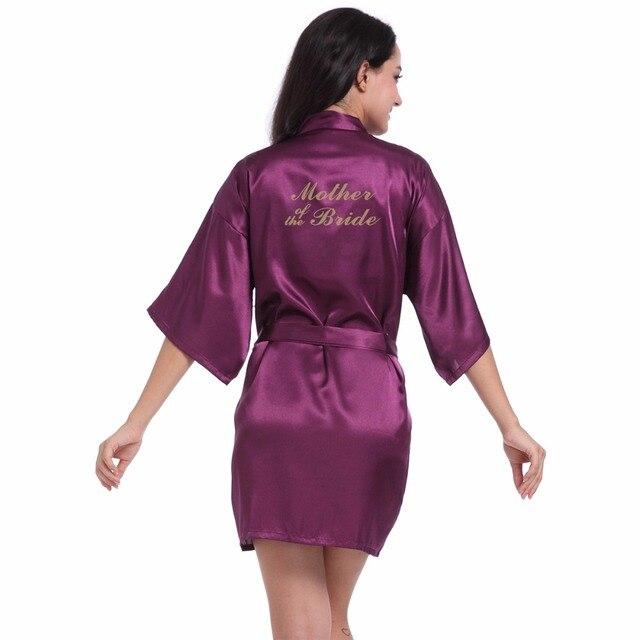 d260ce90867 Purple Mother of the Bride robe Letter Golden Glitter Print Kimono Robes  Women Bachelorette Wedding Bridal Party Robe