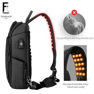 Image 4 - FRN 2019 USB Charging Chest Pack Men Casual Shoulder Crossbody Bag Chest Bag Water Repellent Travel Messenger Bag Male Sling Bag