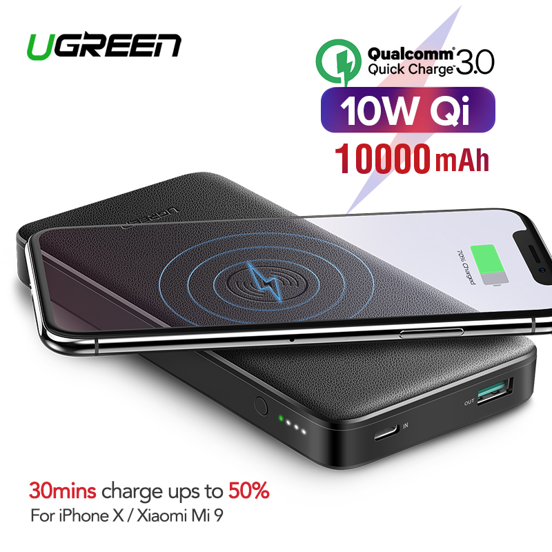 Ugreen Power Bank 10000mAh Portable Wireless Charger Powerbank For iPhone Xiaomi Mi 9 QC3.0+PD Quick Battery Charger Poverbank Борода