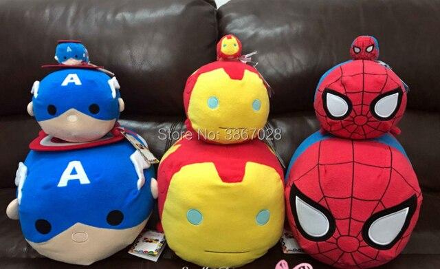 Autêntico Tsum Tsum Pelúcia Hulk Aranha Homem Aranha homem de Ferro Capitão América Preto Travesseiro Almofada Grande Presente Brinquedo de Pelúcia colecionáveis