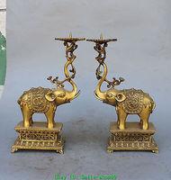 12 Chinese Bronze Brass JiXiang Elephant Dragon Candlestick Holder Pair Statue vases sculpture, Garden Decoration Brass Bronze