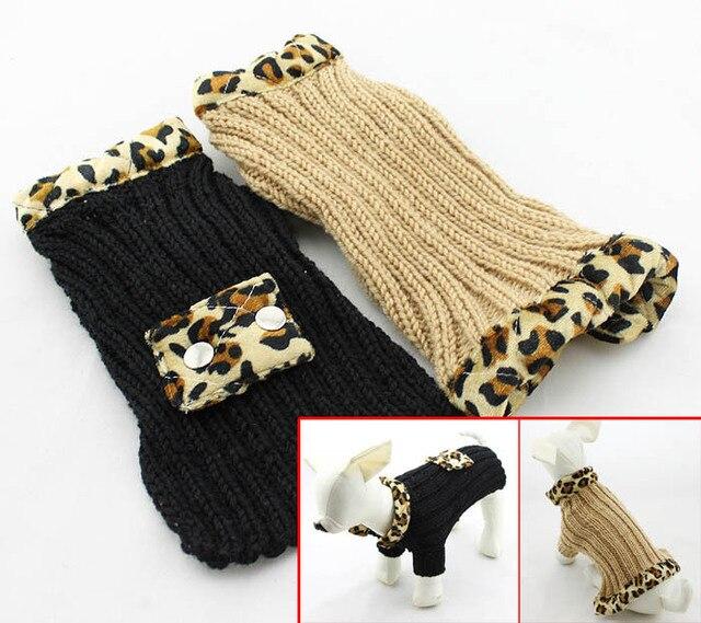 Alta Calidad Del Patrón del Leopardo Suéter perro pequeño escudo ...