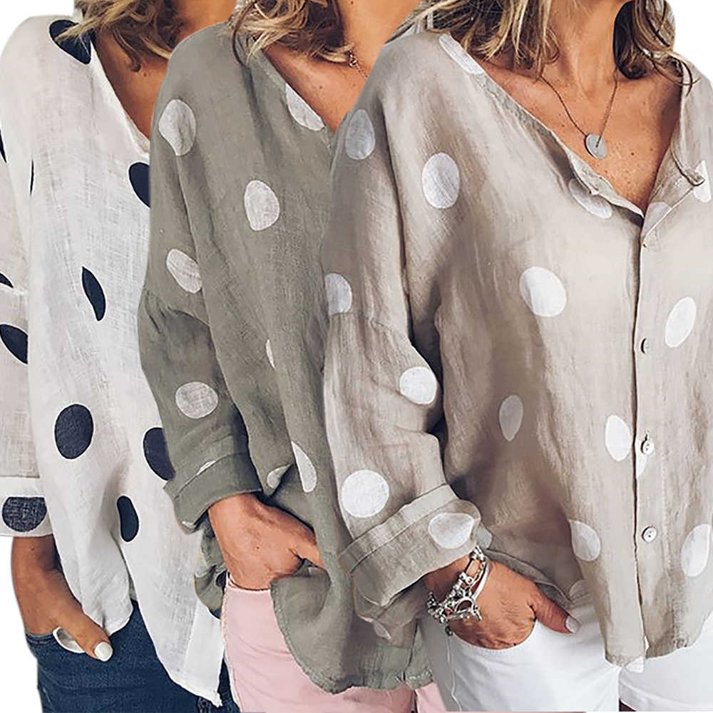 Casual Dot Print Chiffon Blouse Women Single Breasted V-Neck Long Sleeve Women Tops Loose Beach Ladies Tops Plus Size Shirt