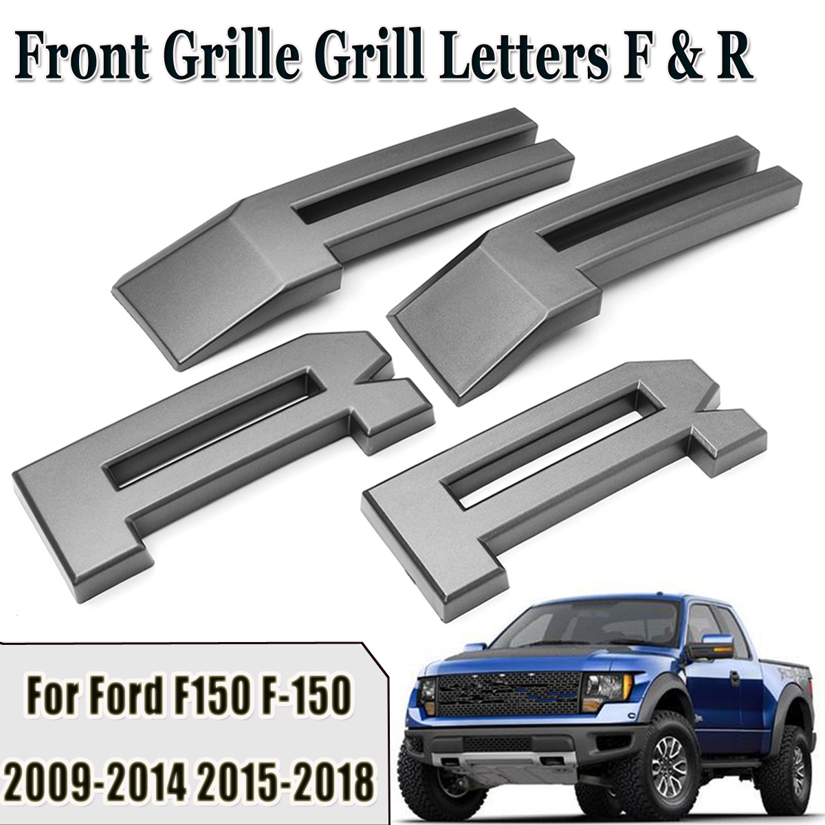 Raptor Style Car Front Grille Grill Letters F R for Ford F150 F-150 2009 2010 2011 2012 2013 2014 2015 2016 2017 2018 for f150 raptor f 150 led tail light rear lights for ford 2008 2012 year smoke black sn