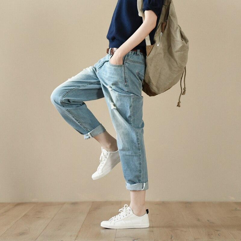 Denim Ripped Lrcp Vintage Otoño Algodón Loose Primavera Azul Pantalones Mujer X1qxOv01