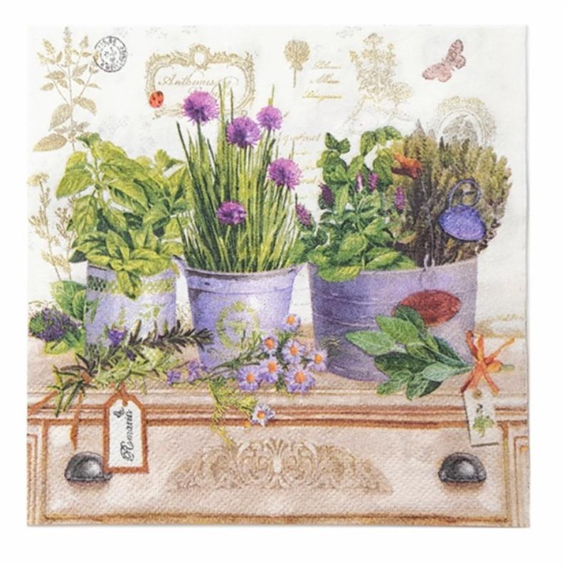 Vintage Napkin Paper Tissue Purple Lavender Flower Pot Handkerchief Decoupage Wedding Birthday Guardanapo Party Dinner Serviette