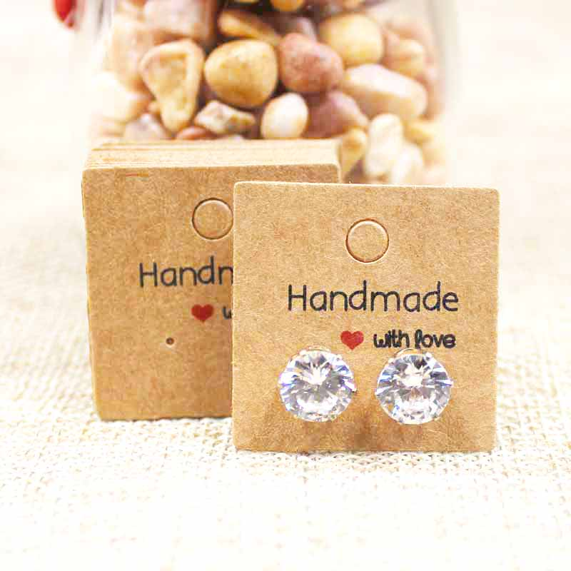 100PCS DIY White/kraft Paper Handmade Stud Earring Tag Square Shape Small Cute Earring Packing Display Tag Card