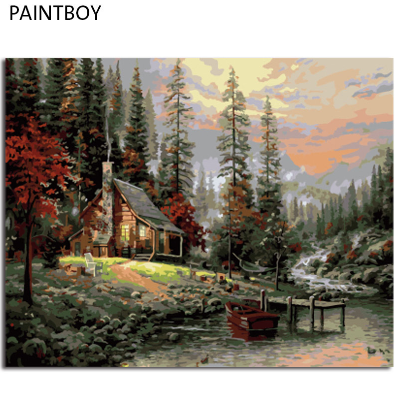 PAINTBOY Framed Wall Art DIY Painting By Numbers DIY Digital Canvas Oil Painting Home Decoration Seascape GX8499 40*50cm