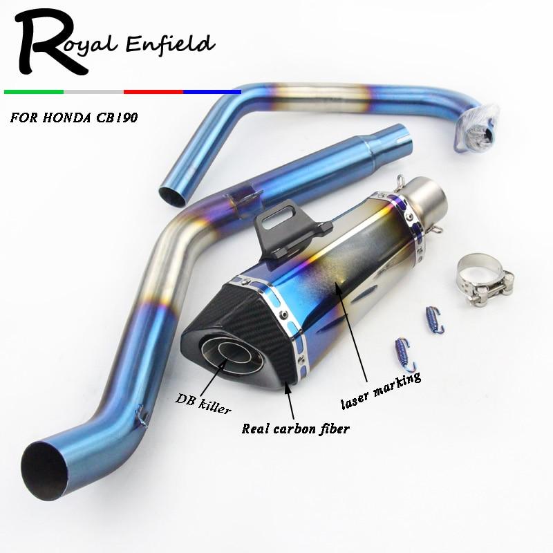 Весь комплект мотоцикл глушитель глушитель Труба, соединяющая передний скольжения трубы по 51мм выхлопная Труба полный комплект труб для Honda CB190