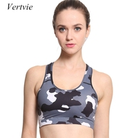Vertvie Brand Women Sports Bras New Camouflage Print Padded Fitness Yoga Bras For Women Underwear Training