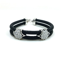 Four Color Black Stingray Bracelet Square Crystal Bracelet Genuine High Grade Stingray Bracelet