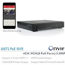 ANTS Desktop 4CH 9CH 5MP/4MP/3M/2MP Onvif NVR Support 4 Ports 8 Ports IEEE802.3af PoE IP Cameras, Goolink AEEYE Smartphone App