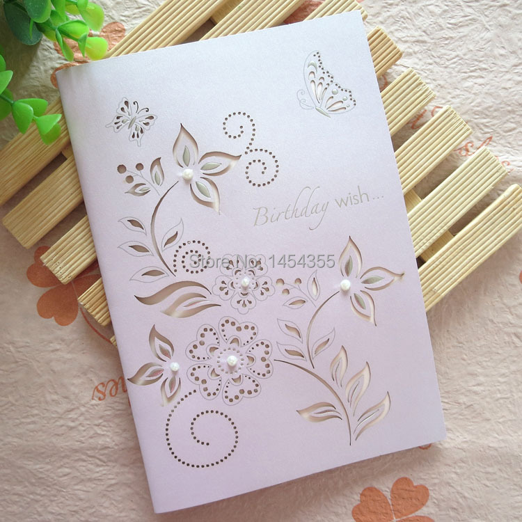 Free Shipping10pcs Lot Laser Cut Elegant Birthday Cards Vintage Style Wishes Paper Cutting Greeting