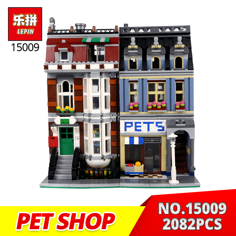 Lepin Building Bricks 15009 2082PCS City Street Pet Shop Model Building Block Set Bricks Kits Compatible with 10218 Toys Gifts lepin 16002 modular pirate ship metal beard s sea cow building block set bricks kits set toys compatible 70810