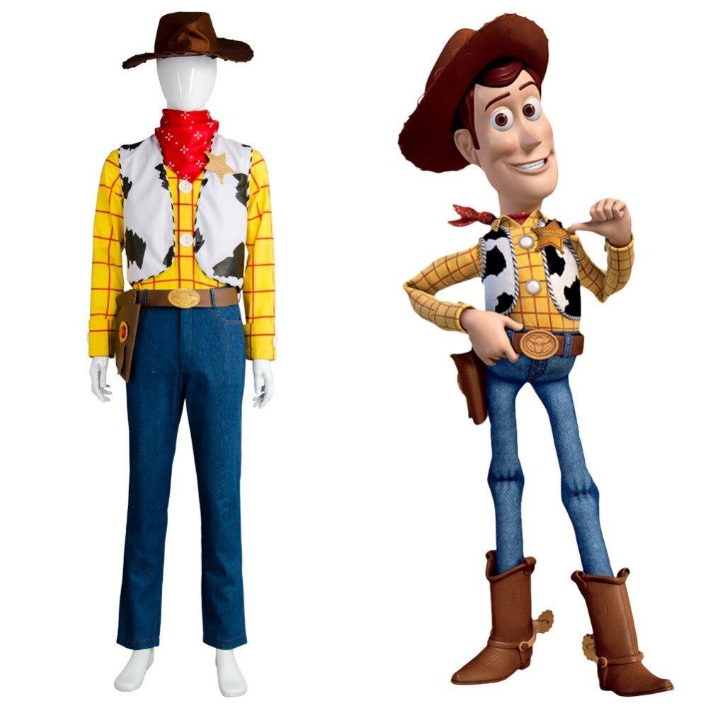 Nouvelle histoire de jouets Cowboy shérif Woody tenue Halloween fête ensemble complet Costume de Cosplay fait pour les hommes adultes ensemble complet