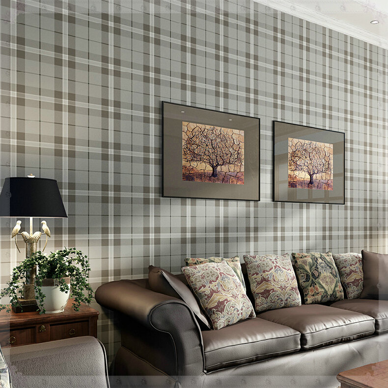 Simple Gray Plaid Wallpaper Import Ahlstrom Non Woven Bedroom Living Room  Sofa Backdrop Wallpaper Luz Cocina Led In Wallpapers From Home Improvement  On ...