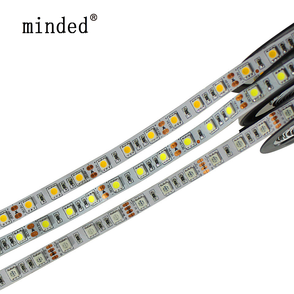 RGB Led Strip 12V 5050 White Warm White Red Green Blue Yellow Flexible Led Strip Lights Waterproof ip65/ip20 Led Diode Tape