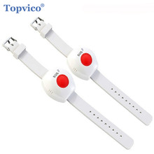 Topvico 2pcs Panic Button RF 433mhz SOS Emergency Button Elderly Alarm Watch Bracelet Old People GSM Home Security Alarm System
