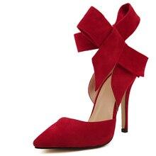 พลัสขนาดรองเท้าผู้หญิงบิ๊กโบว์ผูกปั๊ม2015ผีเสื้อแหลมกริชผู้หญิงรองเท้าส้นสูงรองเท้าแต่งงานZ Apatos De Mujer