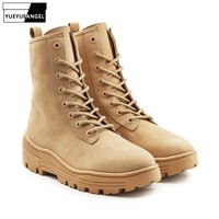 Winter Mens Military High Top Desert Boots Thick Platform Cow Suede Army Combat Ankle Boots Lace Up Male Motorcyle Safety Shoes