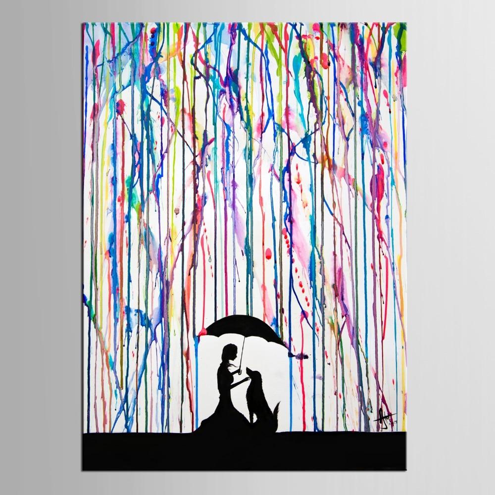 Grafitti art kopen - 1 Panel Art Wall Art Grote Kleurrijke Graffiti Straat Kunstwerk Vrouw Met Paraplu Hond Canvas Print