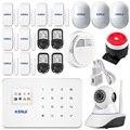 IOS Android App SIM Sistema De Alarme Home Sem Fio GSM Casa Inteligente assaltante Kit Sistema de Alarme PIR Sensor De Segurança wi-fi câmera IP HD