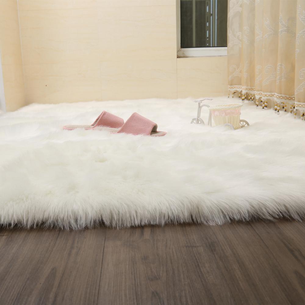 LIULong Fluffy Faux Fur Pele Artificial Retângulo Sofá Assento Da Cadeira  Tampa Tapete Tapete De Área