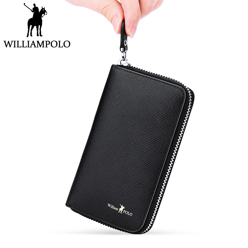 WILLIAMPOLO Business Card Holder Leather Credit Card Case Small ...
