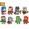 LOZ Nano Super Heroes Batman Catpain América Hulk Spiderman Iron Man Thor Hombre Hormiga Cyclops Mech Educational Building Block juguete