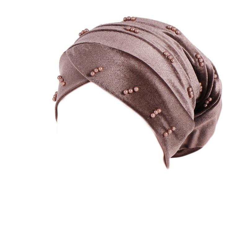 New Fashion Women Autumn Winter Muslim Beading Pearl Ruffle Hat Beanie Scarf Turban Head Wrap Cap  #4F09 (16)